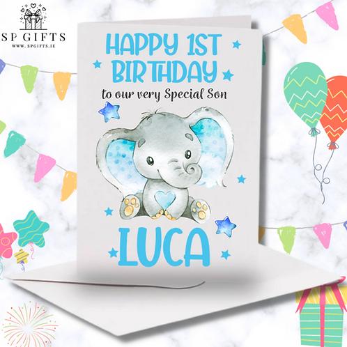 1st Birthday Baby Elephant Boy Card