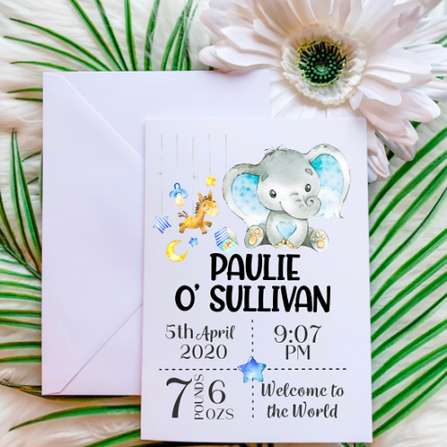 New Baby Boy Card - Elephant