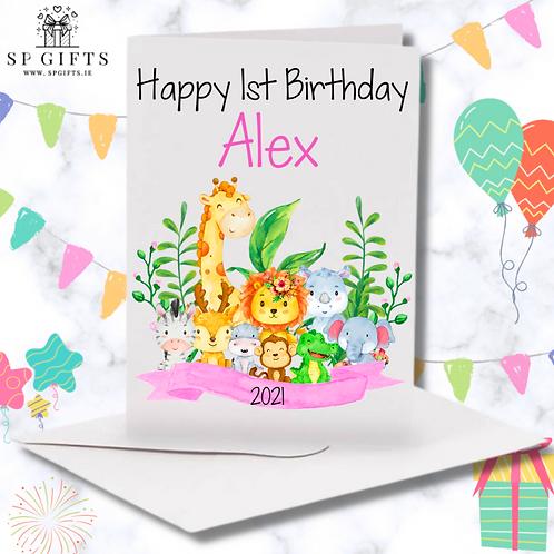 Jungle Animal Safari Personalised Girls Birthday card