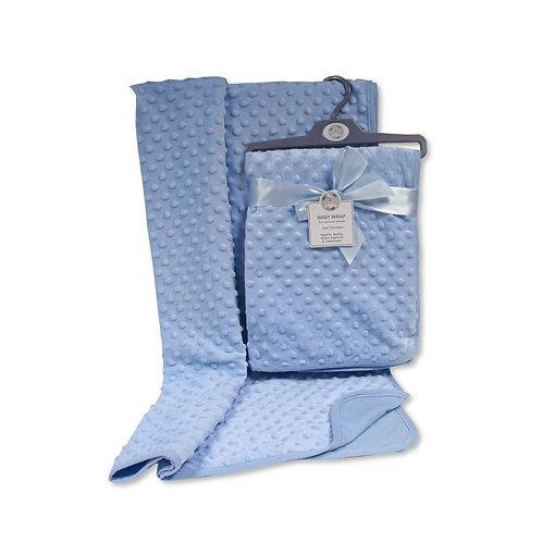 Baby Velour Bubble Wrap with Cotton Back-Blue