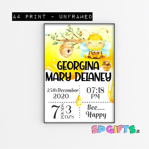 Baby Girl Bee Personalised Print- A4 Bedroom Nursery Wall print - Bee Happy