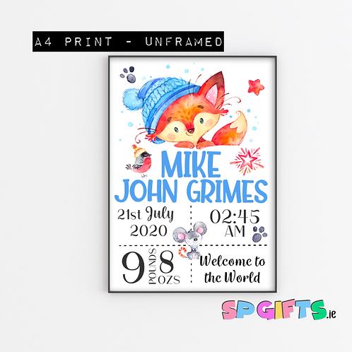 Baby Winter Fox Print- A4 Bedroom Nursery Wall print