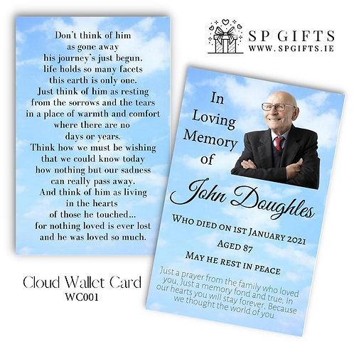 Cloud Design - Wallet Memorial Cards