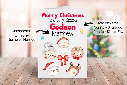 Personalised Christmas Card - Watercolor Christmas