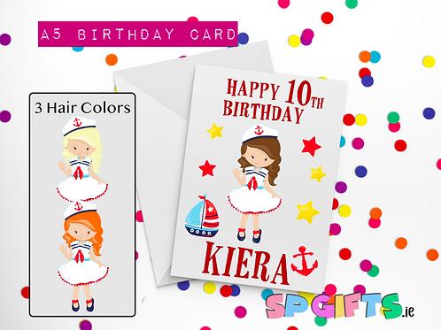 Sailor Girl Birthday Card