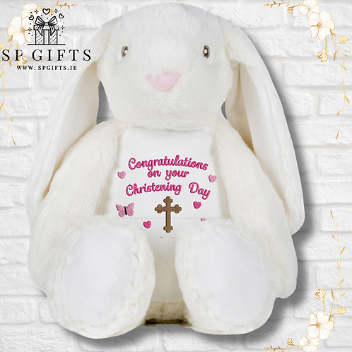 Mumbles White Christening Bunny - Butterfly Design
