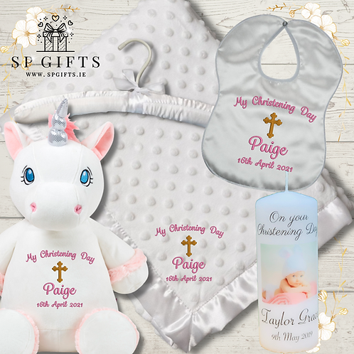 The White Unicorn Deluxe Teddy Dimple Satin Trim Christening - Delivery Box