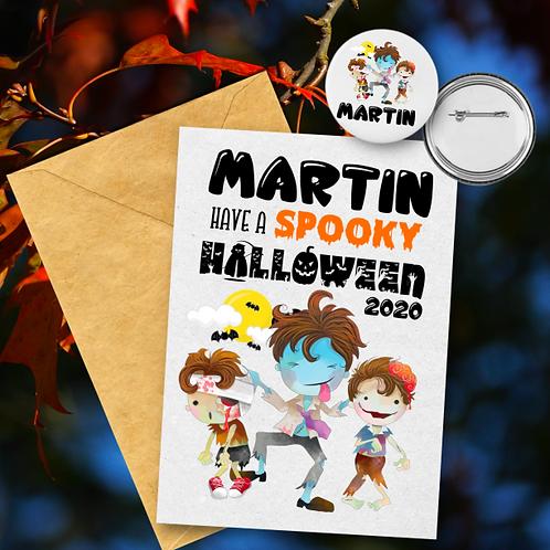 Spooky Zombie B Card & Badge