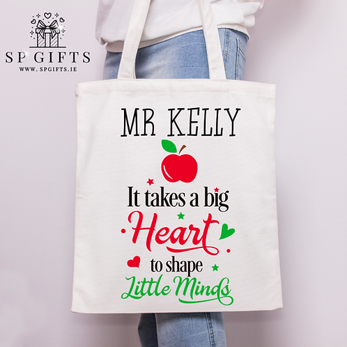 It takes a big Heart Teacher White Tote Bag