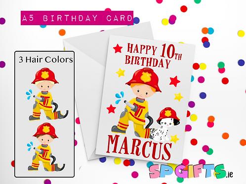 Fire Boy Birthday Card