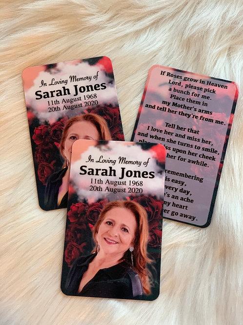 Roses Wallet Memorial Cards