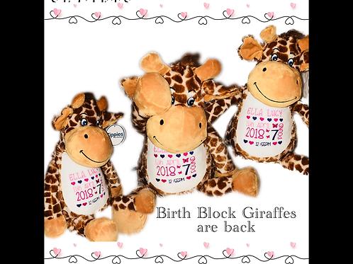 New Baby Birth Block Mumble - Giraffe
