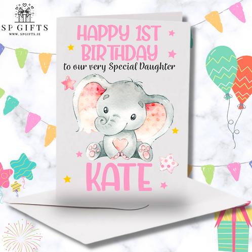 1st Birthday Baby Elephant Girl Card