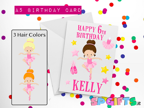 Balerina Birthday Card