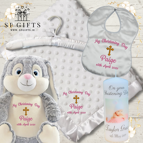 The Grey Cubbies Bunny Deluxe Teddy Dimple Satin Trim Christening - Delivery
