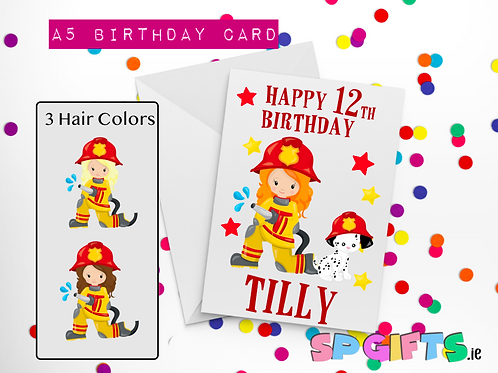 Fire Girl Birthday Card