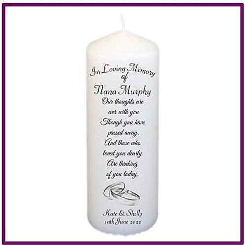 Silver Rings Memorial Candle