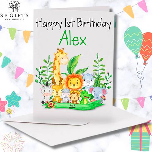 Jungle Animal Safari Personalised Birthday card