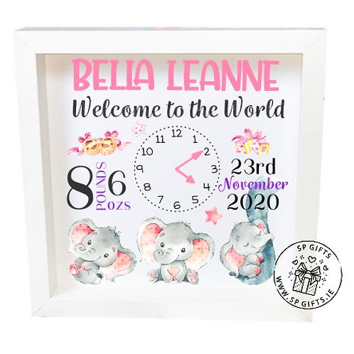 Elephants Baby Box Frame - Pinks