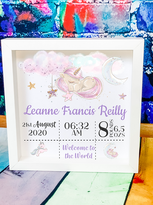 New Baby Birth Announcement Box Frame - Unicorn Design