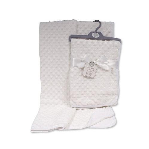 Baby Velour Bubble Wrap with Cotton Back- White