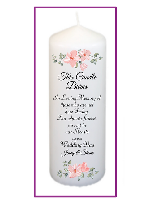 Pink Flowers Memorial Candle