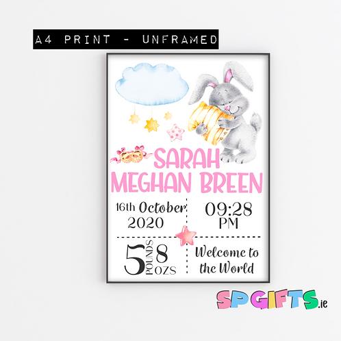 Baby Girls Personalised Sleeping Bunny Print- A4 Bedroom Nursery Wall print