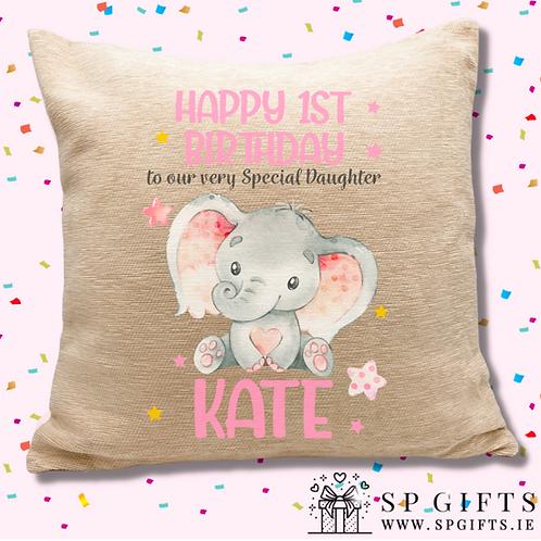 Sweet Baby Girl Elephant Personalised Cushion