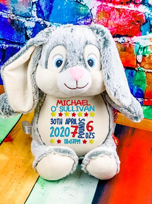 Birth Block Boy - Grey Bunny