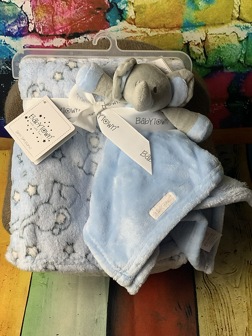 Blue Jacquard  Elephant Blanket & Comforter Set - Personalised