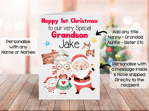 Happy 1st Christmas Personalised Card