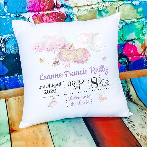 New Baby Birth Announcement Cushion - Unicorn Design