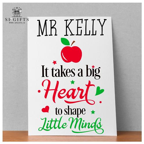 It takes a big Heart Teacher Classroom a4 Print