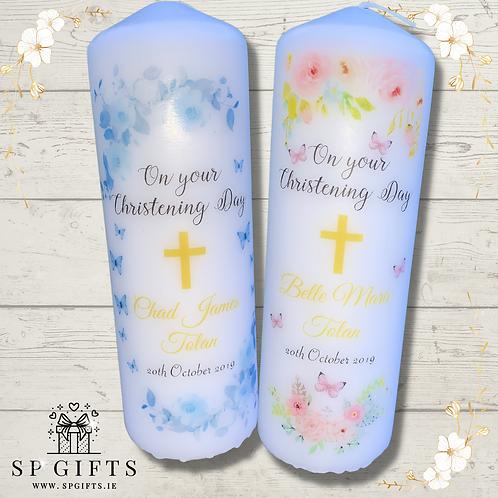 Christening Candle - Floral Butterflies Design
