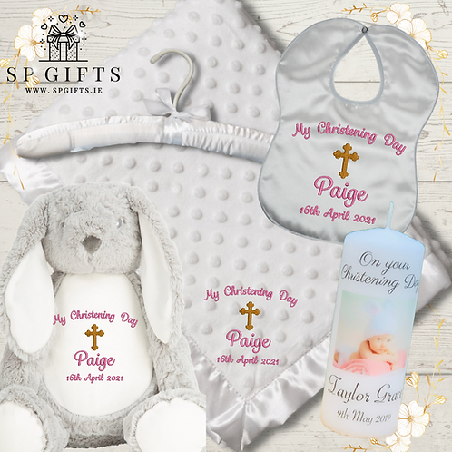 The Deluxe Teddy Dimple Satin Trim Christening - Delivery Box