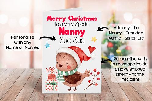 Personalised Christmas Card - Bird