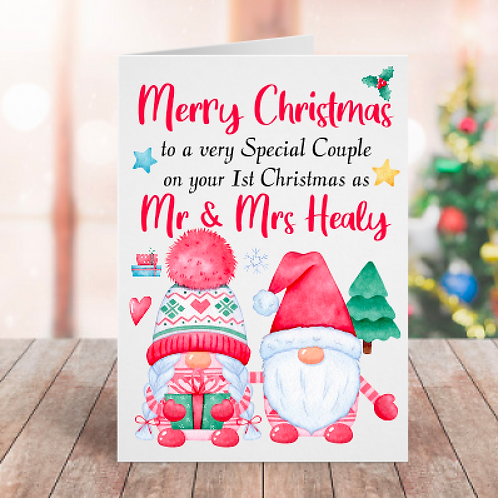 Your 1st Christmas as Mr & Mrs Gnome Card