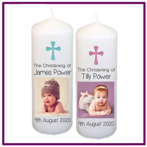 Christening Photo Candle - Cross Design