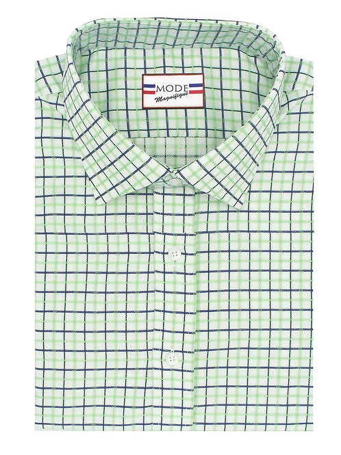 Green & Navy Checkered Twill 100% Cotton