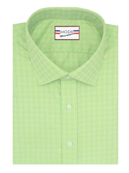 Green Self Checkered Twill 100% Cotton