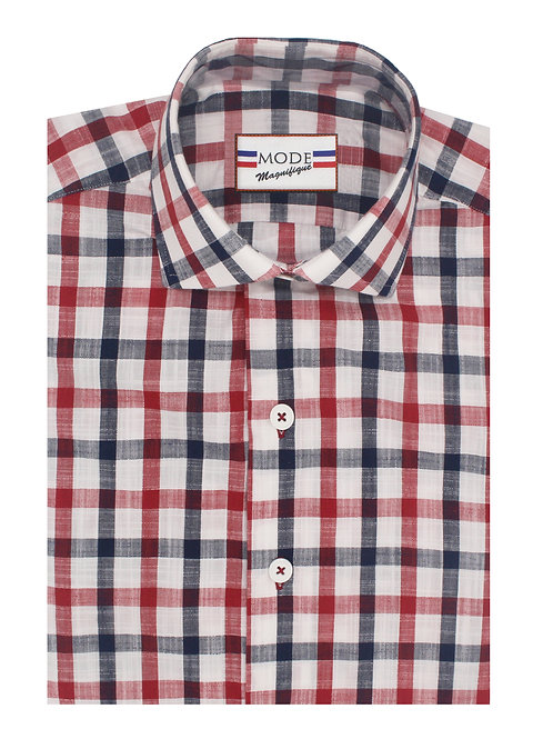 Red & Navy Plaid in Luxury Linen