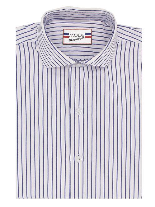 Blue Stripe on White, Egyptian Cotton