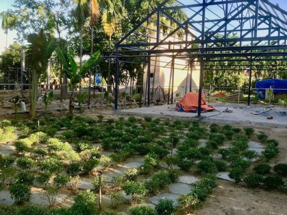A photograph of the yoga sala and meditation labyrinth nearing completion at the  Gratitude Vietnam Retreat Venue in Hoi An.