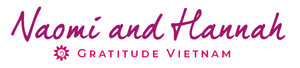 The signature of Naomi and Hannah, hosts of the Gratitude Retreat Center in Hoi An Vietnam