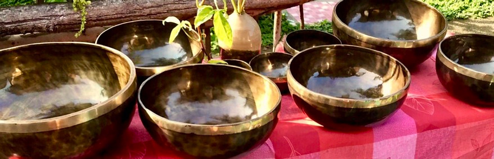 A photograph of beautiful singing bowls for sound healing from Kathmandu in Nepal.