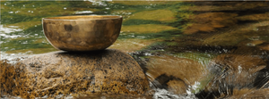 A photograph of a singing bowl used for sound healing on a rock in a river, with water reflecting and flowing around it.