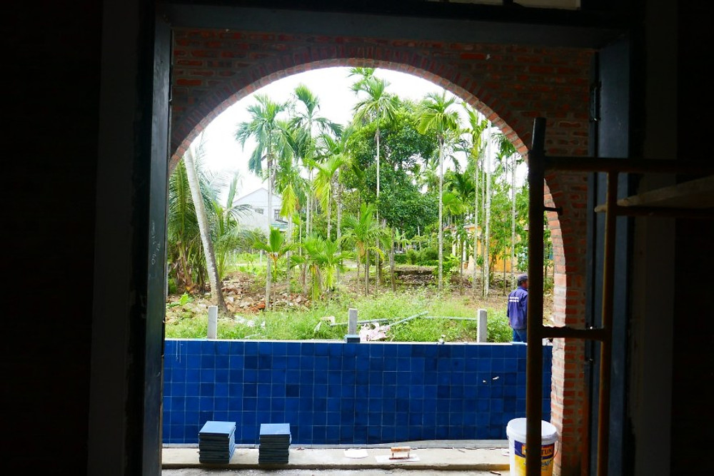 A poolside bedroom at Gratitude Vietnam in the early stages of construction!