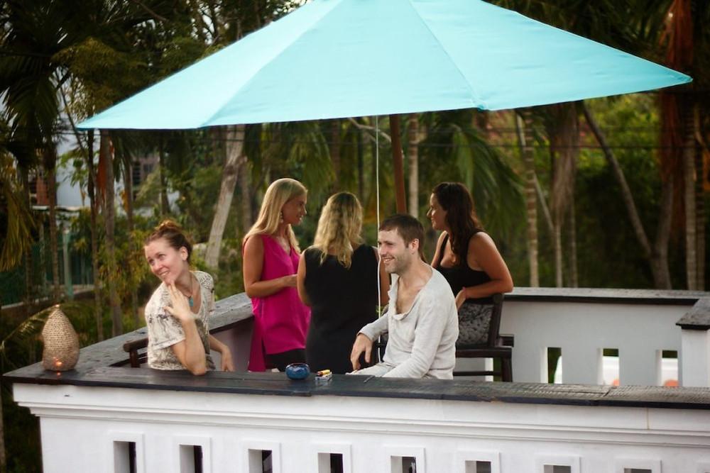 A view of the 'Bar' area at Gratitude Vietnam Yoga Retreat Venue from the 'Sunset Balcony'.