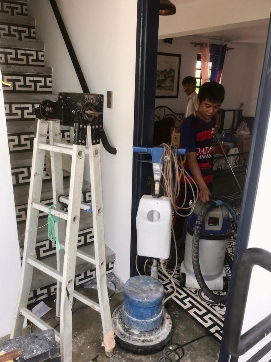 A photograph of cleaning at Gratitude Vietnam Retreat Venue