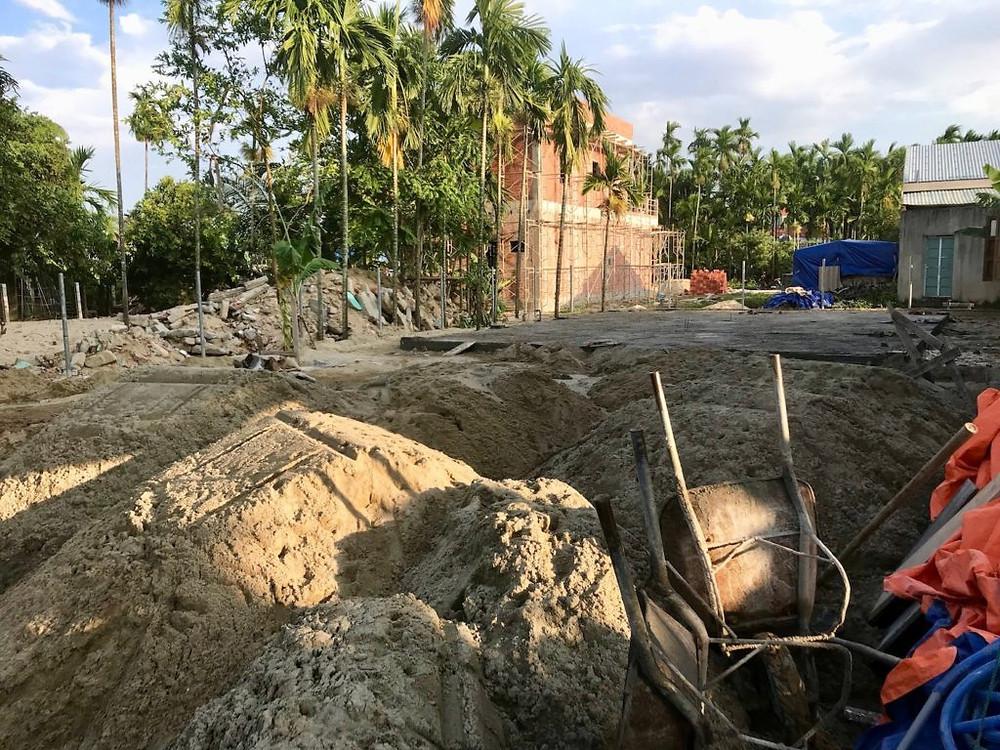 The yoga sala in construction at Gratitude Vietnam Retreat Venue